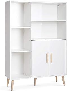 Meerveil - Buffet - Bibliothèque Meuble de Rangement avec 2 Portes 5 Casiers Étagères Réglables en Bois pour Salon Chambre...