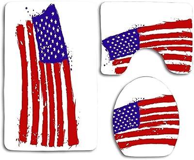 N\A Abstract American Flag Grunge Style 3PCS Franela Antideslizante Asiento de Inodoro + Almohadilla para los pies + Alfombrilla de baño Set de baño Decoración de Inodoro