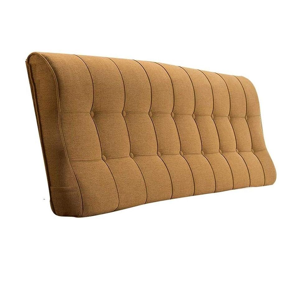 領事館困った帰するリネンヘッドボードソフトパックダブルベッドクッション枕ベッド大きな背面曲がったウエスト無地生地クッション (Color : Brown, Size : 200x60x12CM)