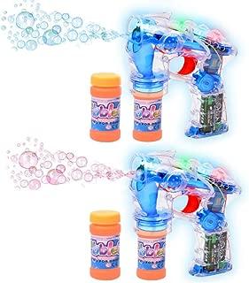 Haktoys 2-Pack Transparent Bubble Gun Shooter Light Up Blower | Toy Bubble Blaster for..