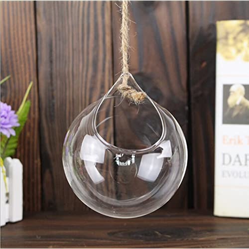 3X Demarkt Florero de Vidrio Transparente Colgante manualidades Decoración para Hogar artesanía de cristal