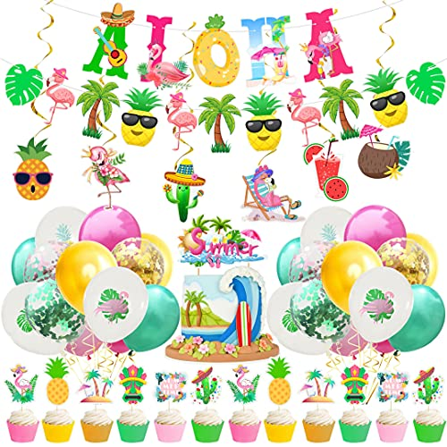 Noa 47 Pcs Hawaiian Party Decoration, Party Accessory Set Carnival Theme Party Aloha Supplies Banner Balloons Cupcake Topper Spiral for Children Adults