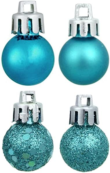 Northlight 18 Count 4 Finish Shatterproof Christmas Ball Ornaments 30mm 1 25 Turquoise Blue