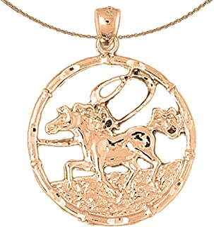Chinese Zodiacs - Horse Necklace | 14K Rose Gold Chinese Zodiacs - Horse Pendant with 18