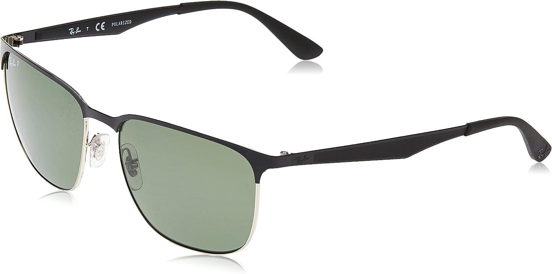 Ray Ban Metall halbe Felge quadratische Sonnenbrille in Silber auf schwarz  glänzend RB20 20A 20