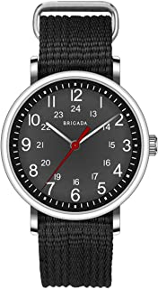 Fashion Minimalist Men's Quartz Wrist Watch, Analog Cool Black Nylon Casual Watches for Men Waterproof