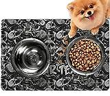 YouCustomizeIt Skulls Dog Food Mat - Small w/Name or Text