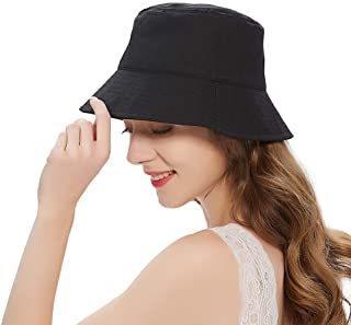 Cotton Bucket Hats for Women,Summer Travel Beach Sun Hat Outdoor Cap,Packable Teens Girls Bucket Hat UPF 50+