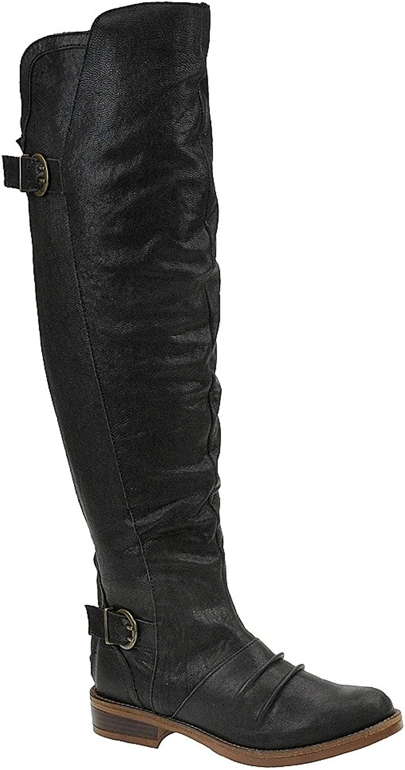 Kensie Womens Stella Leather Almond Toe Over Knee Riding Boots