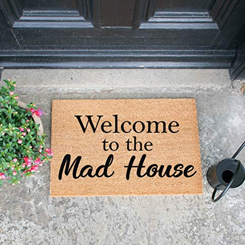 Welkom bij The Mad House Deurmat 60 x 40cm Binnen Outdoor Heavy Duty Coir Mat