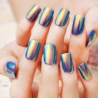 Sethexy 24Pcs Glossy Square False Nails Blue Mirror Chrome Bright Full Cover Art Fake Nails Tips for Women and Girls