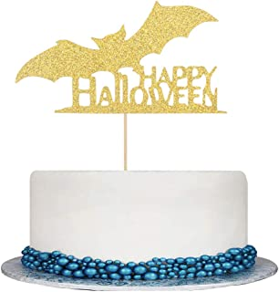 Double Sided Gold Glitter Happy Halloween Cake Topper - Halloween Cake Party Decorations