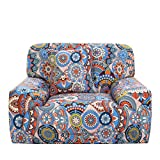 uxcell Printed Sofa Cover Couch Covers Polyester Spandex Fabric 1-Piece Stylish Sofa Slipcover Fitted Furniture Protector with One Free Cushion Case Blue Red Chair 1seater