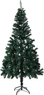 LAZYMOON 6Ft Artificial PVC Classic Unlit Christmas Tree Plastic/Metal Stand 200 Tips Full Tree