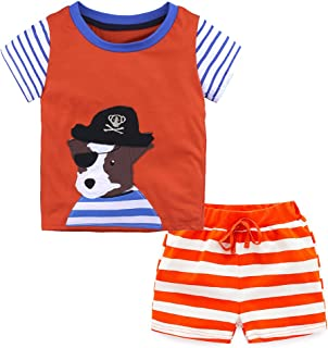 White Skull Black Cotton Bodysuit Black Red Striped Baby Dress Set NB-18M