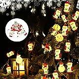 AYUQI Decoraciones de Navidad Luces LED,3M 20LED Luces de Papá Noel Luces Decorativas para Jardines,Hogar, Boda,Fiesta de Navidad, con Pilas, Blanco Cálido