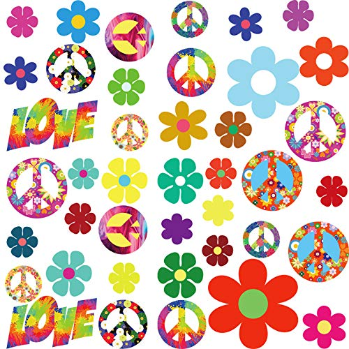 84 Pieces 60's Hippie Theme Party Stickers Retro Flower Stickers 60s Hippie Theme Party Retro Sun Flower Car Stickers Flowers Peace Sign Decals Colorful Hippie Decals for Laptops Skateboards Luggage