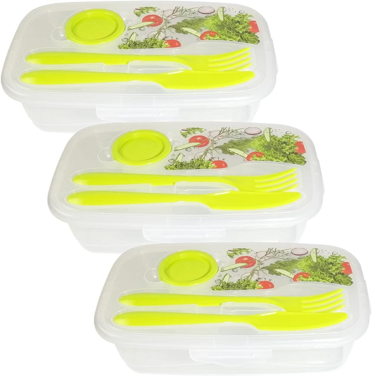 Fiambrera Infantil Fiambrera para Niños. Lunch Box -(3 uds) Caja Para Cubiertos - Tupper Infantil - Tupper Cubiertos - Taper con cubiertos Caja de Almuerzo (Color ensalada)