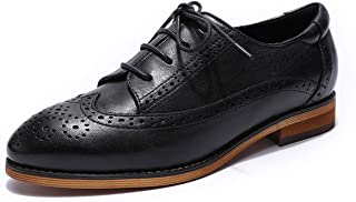 MIKCON Womens Leather Saddle Oxfords Wingtips Comfortable Brogues Flats Shoes for Women Girls
