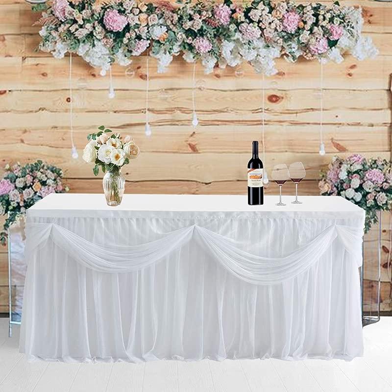 NSSONBEN 6ft White Tulle Table Skirt For Baby Shower Elastic Grenadine Ruffle Tutu Table Skirting For Rectangle Or Round Table L72in H30in