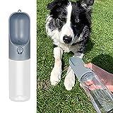 DZL- Botella Agua Perro Botella de Agua para Mascotas Bebedero Portátil de Viaje para Perros y Gatos Fuente Portátil para Mascotas 400ML (Gris)