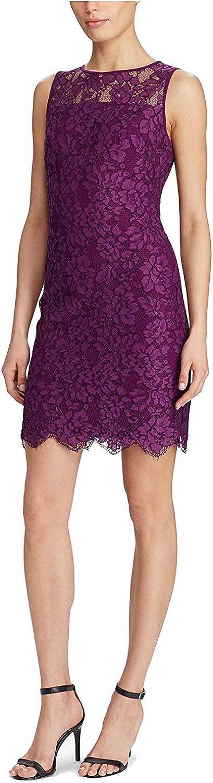 Lauren Ralph Lauren Womens Lace Scalloped Party Dress