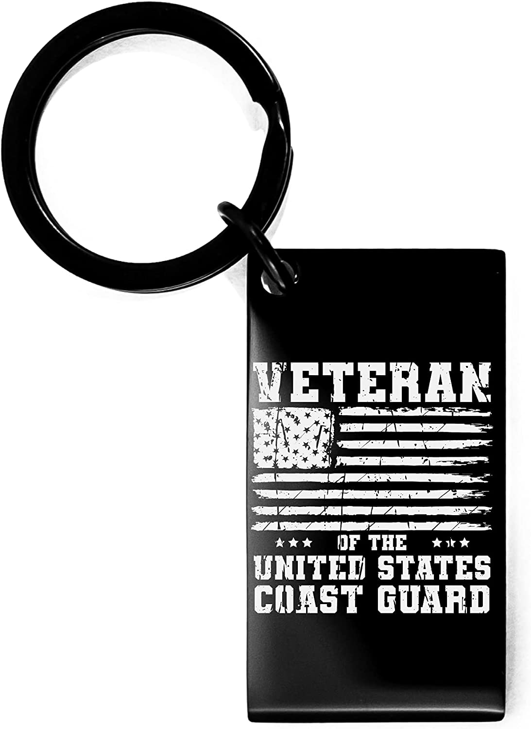 United States Coast Guard Keychain Gifts USCG Christmas Gifts for USCG Flag Veteran Birthday Gifts for United States Coast Guard Engraved Black Keychain Veteran of the United States Coast Guard