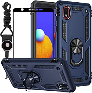BTShare for Samsung Galaxy A01 Core Case with Tempered Glass Screen Protector & Lanyard Neck Strap, Rugged Double Layer An...