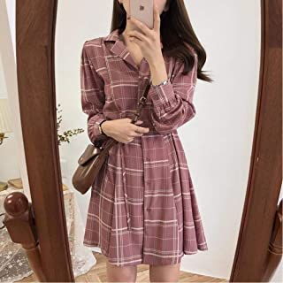 New Autumn/Winter Spring Clothes A-Line Office Ladies Dress Female Lapel Long-Sleeved Plaid Casual Dress Robe