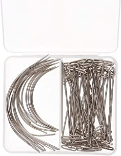 HEALLILY 80 agujas curvadas de metal tipo C para tejer agujas de ojo grande de alta calidad para coser a mano y hacer pelucas de ganchillo DIY para hacer manualidades 2.0//2,5//3//3,5 pulgadas