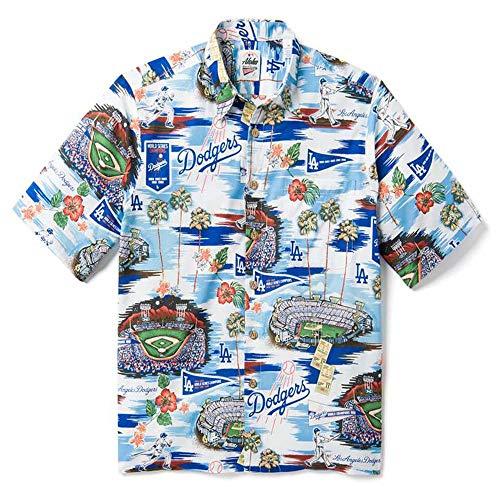 Reyn Spooner Men's Los Angeles MLB Classic Fit Hawaiian Shirt, Dodger - Scenic 2019, Large