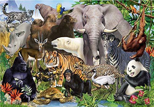 N / A JKIYW Rompecabezas para Adultos de 1000 Piezas, Rompecabezas del Mundo Animal, 1000 Piezas para niños, Juguetes educativos, Regalo de Bricolaje, Juego Divertido