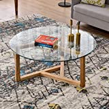 Round Coffee Table 35' Modern Glass Coffee Table Easy Assembly Tempered Glass Table for Living Room with Matural Wood Base