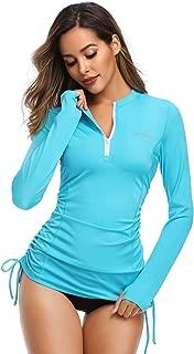 Women's Long Sleeve UV Sun Protection Rash Guard Side Adjustable Wetsuit Swimsuit Top