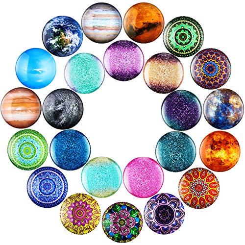 24 Stück Glas-Kühlschrankmagnete dekorative Kühlschrankmagnete Kristall Mandala Blumen Planet Design Glasmagnete für Klassenzimmer Whiteboard Spind Kühlschrank Zubehör