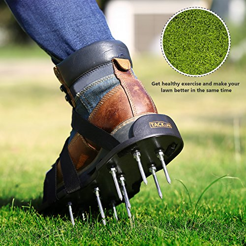 TACKLIFE- Lawn Aerator Shoes, Garden Lawn Aerating Sandals, Spiked Sandals 4 Adjustable Heavy Duty Straps with Metal Buckles for Aerating Your Lawn or Yard-GAS1A
