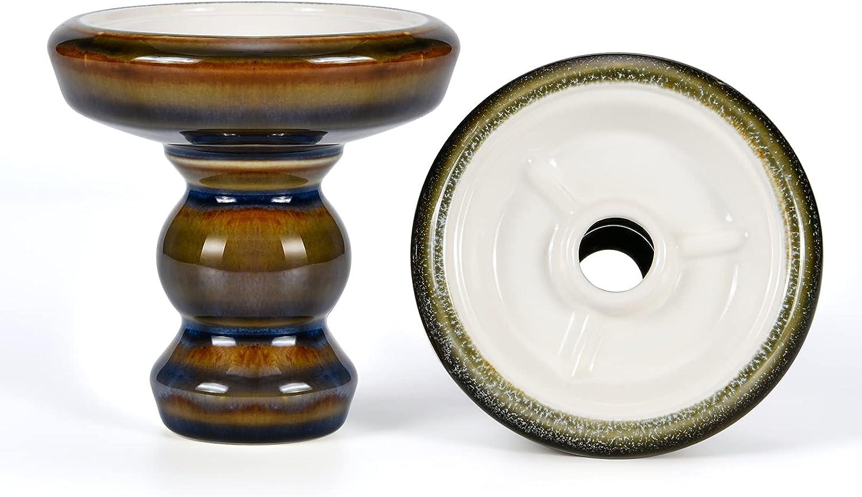 Cazoleta Cachimba Phunnel Cabeza Shisha - Kitosun Pivot Tazón de Barro Acristalado con Borde Compatible con HMD Provost & Foil, 15-20g Sabores de cachimba,1.5-2 horas (Rejor-golden)