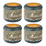 Sziqiqi 4Pcs Vintage Rustic Metal and Glass Tealight Holder, Hollow-Out Design