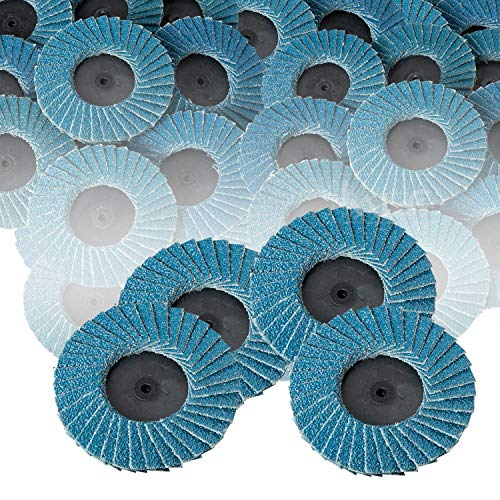 Katzco Flap Discs 80 Grit Quick Change Grinding Wheels 10 Pieces - 2 Inch - for Rotary Tools, Die Grinder, Drill, Blending and Finishing Applications