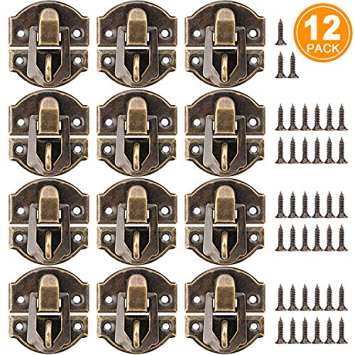 PAGOW 27MM Antique Brass Latch hasps, 12-Pack with Bronze Screws for Wooden Jewelry Box Cabinet Decorative, Suitcase Box Old Style Lock