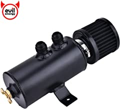 EVIL ENERGY Universal 10AN Baffled Oil Catch Can Breather Can with Drain Valve with Filter 2 Ports Aluminum 750ML Black