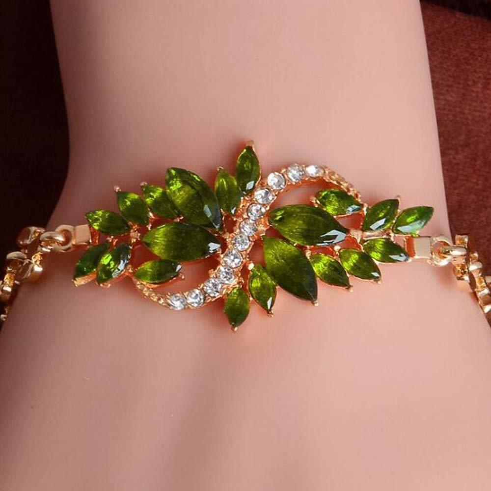 YERTTER Retro Female Jewelry Bangle Adjustable Fashion Style Rhinestones Charming Bracelet for Women Men Party Prom Vacation (Green)