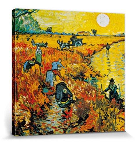 1art1 Vincent Van Gogh - El Viñedo Rojo, 1888 Cuadro, Lienzo Montado sobre Bastidor (40 x 40cm)