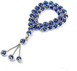 Sandala 33-Prayer Tasbih Beads Islamic Muslim Allah Muhammad- 12mm Rosary with Portable Bag (33×12mm, Blue)