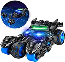 Car Toys - Pull Back 3 in 1 Chariot Vehicles Cars Launching Motorcycle with Eject Button LED Light and Sound - Great Gift for Kids Boys Girls 2 3 4 5 6 - 14 Year Old -Black