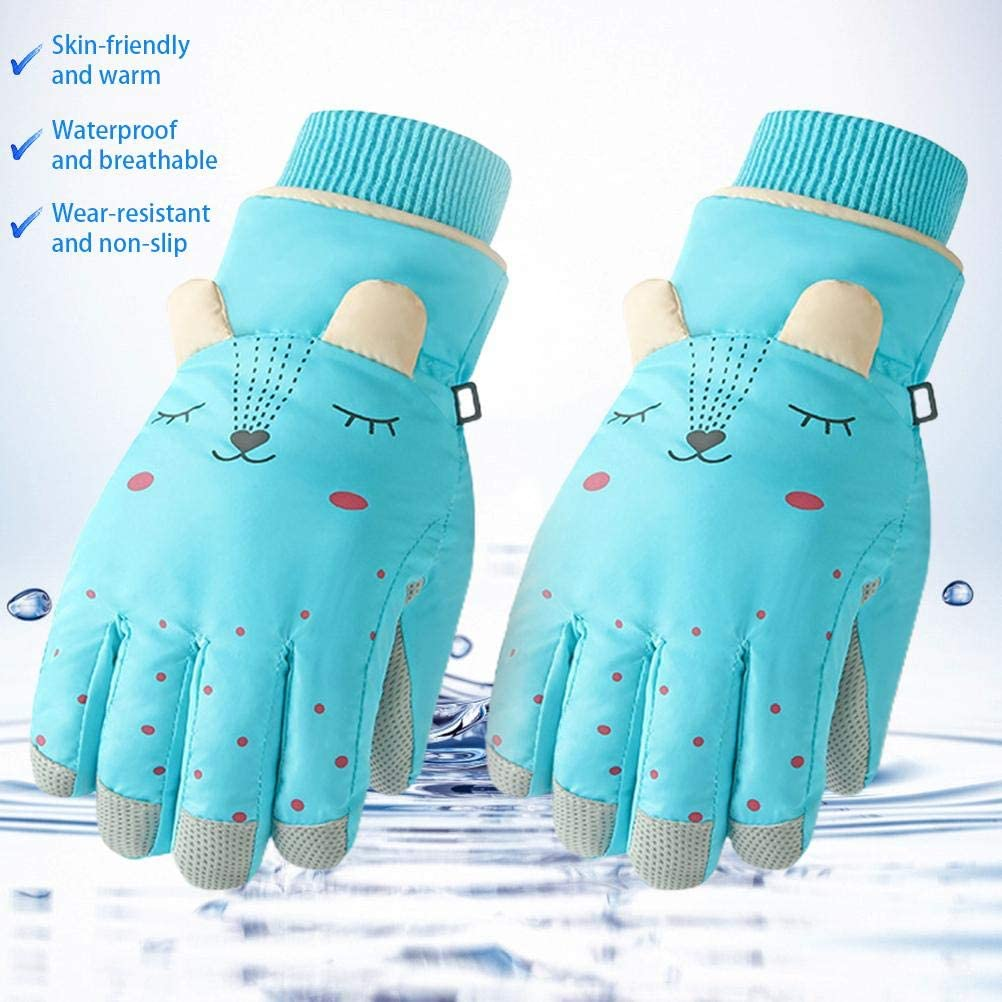 GASF Sports Cycling Waterproof Coldproof Gloves Outdoor Cycling Ski Gloves for Children Boys Girls Aged 6-12 Red Kids Winter Warm Snow Mittens