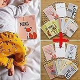 Lot 24 Cartes étapes Bébé - Sa première année + Ses premières fois - Thème animaux