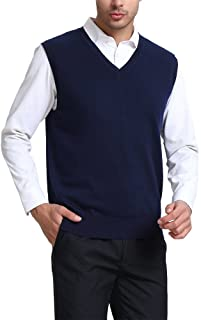 Kallspin Men's Cashmere Wool Blend Relax Fit Vest Knit V-Neck Sweater
