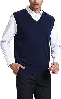 Kallspin Men's Cashmere Wool Blend Relax Fit Vest Knit V-Neck Sweater