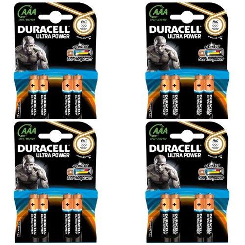 16 DURACELL Batterien Alkaline, Micro, AAA, LR03, 1.5V Ultra Power, Powercheck